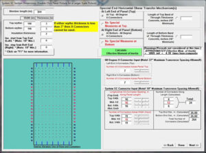 Thermomass SC Design Software input screen example